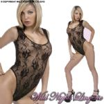 Sleeveless Tulip Lace BODY STOCKING BLACK